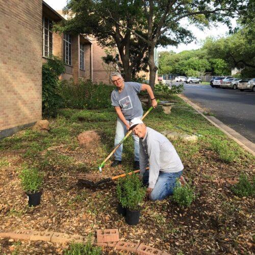 Alana Mallard & Jeff Brower tend to Butterfly garden
