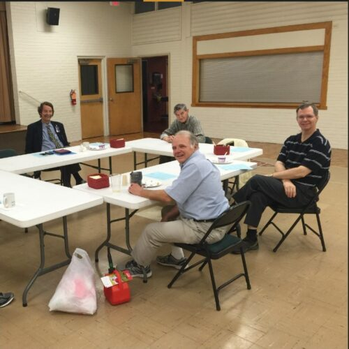 Men's prayer breakfast in Sapp Hall