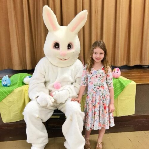 Katie McCann and Easter Bunny in Sapp Hall