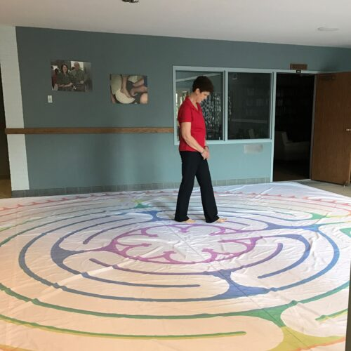 Kathy Stanley walks the Labyrinth