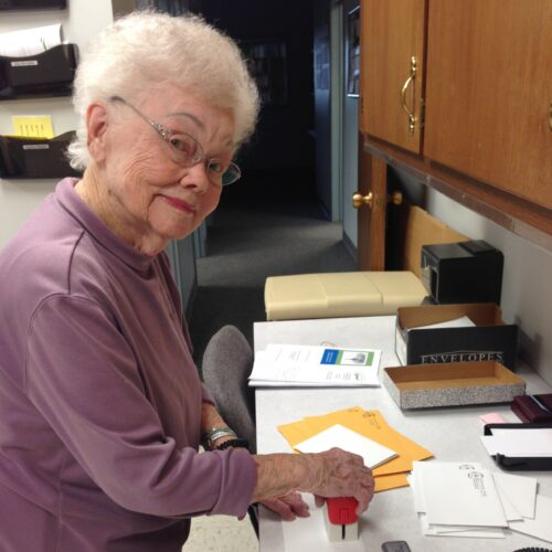 Erna Jeffrey prepares memorial notes