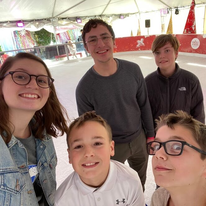 The youth group ice skating