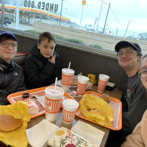 Youth Group and Masyn and Brandon Evans-Clements eating Whataburger