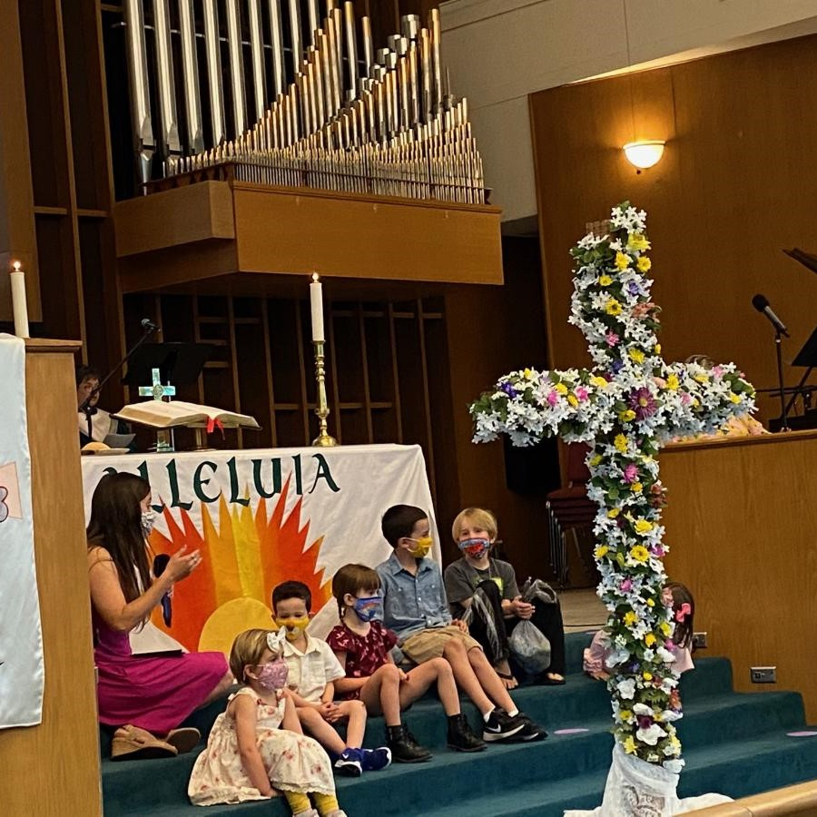 Masked Children's Sermon in Sanctuary