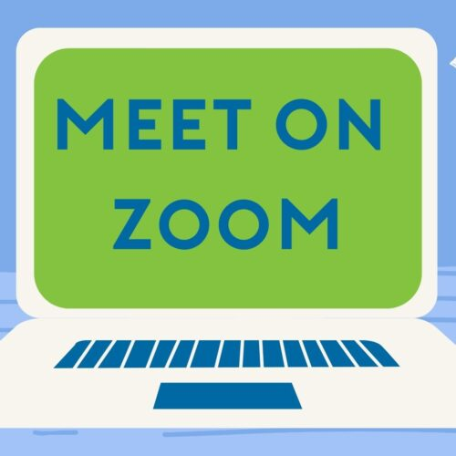 Clip art of laptop with Meet on Zoom words