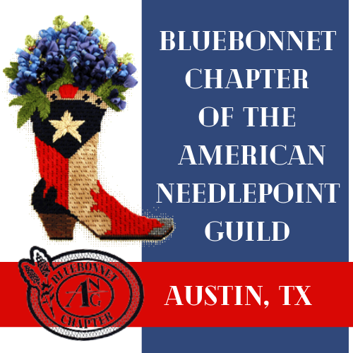 Needlepoint Bluebonnets in boot with words